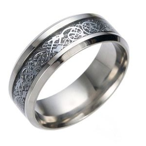 Other - Size 8 Stainless Steel w/ Black Inlaid Dragon Ring